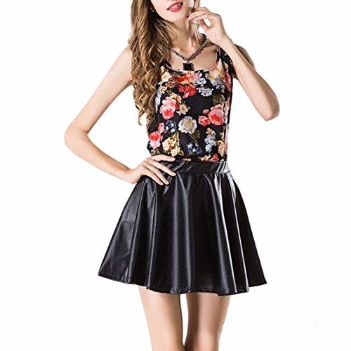 QIYUN.Z ete Sans Manches En Mousseline De Soie De La Mode Des Femmes Libres Gilets Imprimes Talonnage Sommets Fleurs noires