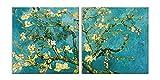 LuxHomeDecor Quadri Vincent Van Gogh Mandorlo in Fiore 2 Pezzi 50x50 cm Stampa su Tela con Telaio in Legno Arte arredo