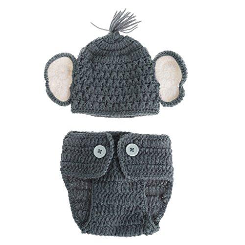 Neugeborene Baby Elefant Strick Häkelmütze Jungen Mütze Kostüm Fotografie Requisiten Outfits für Jungen 2 Farben B