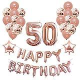 Yoart 50. Geburtstag Dekorationen Rose Gold für Sie und Frauen Mädchen Party Supplies 39 Stück mit Alles Gute zum Geburtstag Banner Konfetti Latex Ballons Sterne Folienballons