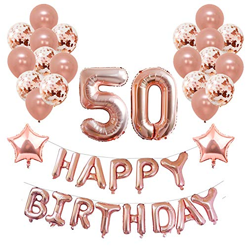 39 pc 50 Happy Birthday Decotayions Set in Rose Gold