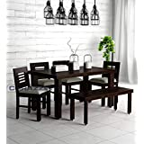 Corazzin Wood Sheesham Wood Dining Table 6 Seater | Wooden Dining Room Furniture | 4 Chairs with Cushion and Bench | Warm Chestnut Finish