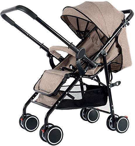 Kinderwagen Für Neugeborene - Leichter Kinderwagen - Kompakter Reise-Buggy - Verstellbare Rückenlehne - Zusammenklappbar - Fünf-Punkt-Gurt - Ideal Für Flugzeuge - Zwei-Wege-Kinderwagen, Braun