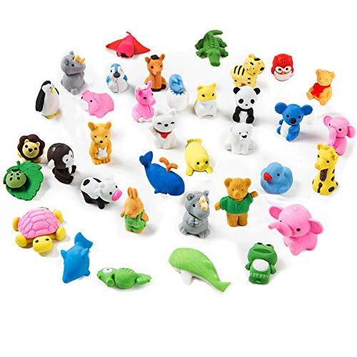 Gomme da cancellare di animali per festa bambini, giocattolo creativa mini cartoon, premi di giochi, carnevali e materiale scolasticor matita bomboniera regalo compleanno natale (35pz)