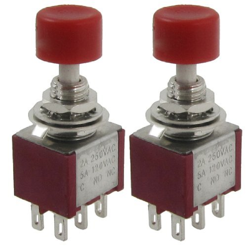 DealMux DPDT 2NO 2NC Momentary Push Button Switch, AC 250 V / 2 A, 120 V / 5 A -