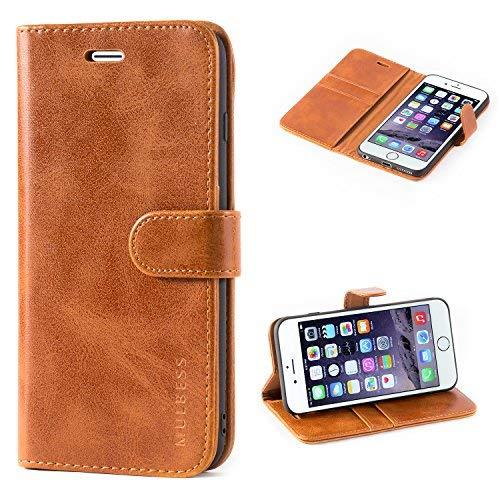 Mulbess Handyhülle für iPhone 6S Plus Hülle, Leder Flip Case Schutzhülle für iPhone 6 Plus Tasche, Cognac Braun
