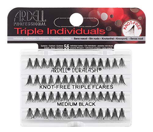 Ardell Triple Individual Lashes - Knot Free Triple Flares - Medium Black