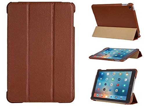 FUTLEX Smart Cover Case Vera Pelle per iPad Mini 4 - Marrone - Pelle pieno fiore - Design unico - Differenti posizioni - Funzione Accensione/Spegnimento automatico - Lavorata a mano - 100% Vera pelle - Massima protezione