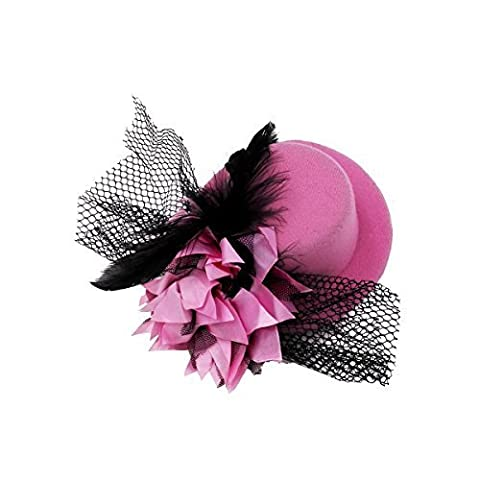 Kalevel® Flower Hair Clip Feather Hair Clip Punk Mini Top Hat with Clips and Veil for Girls Women (Pink) by