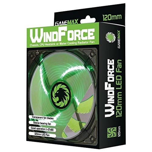 Verde Ventilatore per Cabinet Silenziosa, 120mm x 12cm / LED Game Max Windforce / iCHOOSE