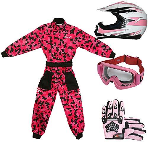 Leopard LEO-X16 Rojo Casco de Motocross para Niños (M 51-52cm) + Gafas...