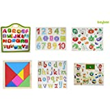 BAYBEE Premium Wooden Puzzles with Geometric Shape Sorter Magnetic Writing Board, Classroom and Tangram Puzzle(Multicolour,BBWT113-55C)- Set of 6
