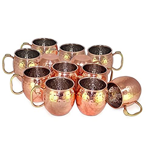 Dungri India ® À la main La meilleure qualité 100% pure Copper Mug pour Moscow Mules 550 ML / 18 oz, Set of 16, Copper Plating Stainless Steel Meilleure qualité