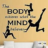 Body Mind Fitness Gym Inspirations-Zitat-Wand-Kunst-Aufkleber-Abziehbilder Vinyl-Hauptraum Schlafzimmer Jungen Mädchen Kinder Erwachsene Heim Wohnzimmer Zitate Küche Badezimmer Wandaufkleber