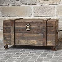 Estilo antiguo baúl con ruedas Baúl de madera de almacenamiento 71x 40x 39cm)