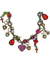 Collier de charme en couleur or antique - Collier en pierre de cristal multicolore avec des pendentifs de coeur - Colliers de coeur d'amour pour elle