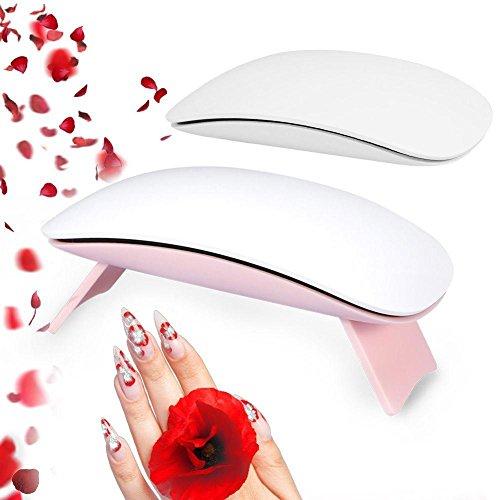 Sèche-ongles portatif, mini lampe de polymérisation de polonais UV de 6W UV / machine légère avec le cadre de support pliable, outil de séchage de manucure pour l'ongle(Blanc)