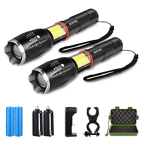 Torche Lampe de Poche Led Rechargeable (Lot de 2), NEXVIN Torch LED Militaire Ultra Puissante avec 1000 Lumens et 6 Modes d'éclairage pour Camping, Vélo de Nuit, Aventure