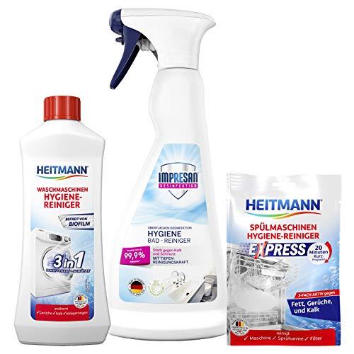 HEITMANN Spülmaschinen Reiniger 30g + HEITMANN Waschmaschinen Reiniger 250 ml + Impresan Bad-Reiniger 500ml: Bündel für hygienische Sauberkeit den Haushalt, Hygiene Reinigung