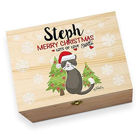 Weihnachten Katze mit Bäume personalisierbar Holz bedruckt Christmas Eve Box