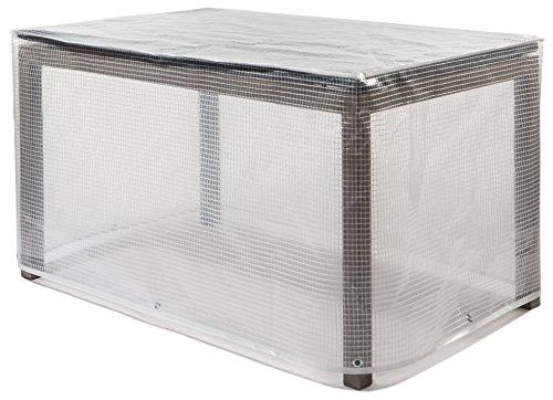 Gartentisch | Schutzhaube rechteckig | Schutzhülle | Abdeckplane | Abdeckhaube | Abdeckung | aus ClassicLine (Polyethylen-Gitternetzfolie) | hochfertige und langlebige Wetterschutzhaube | Transparent | Maße in cm: 220x100x70