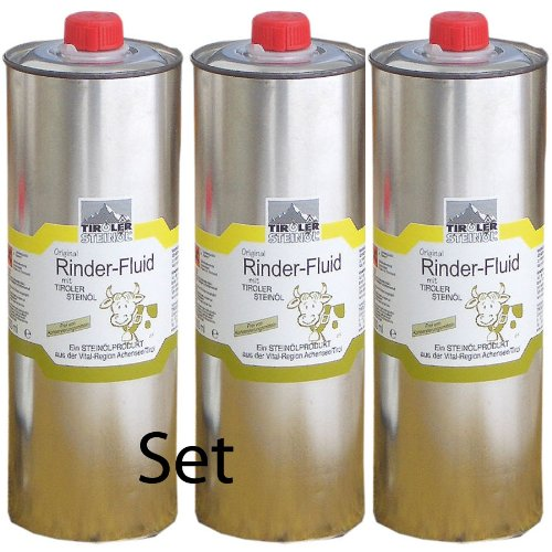 Tiroler Steinöl - Bremsenöl, Set mit 3 Stück a 1000 ml zum Vorteilspreis   Fliegenöl gegen Insekten, Fliegen, Bremsen, Zecken usw