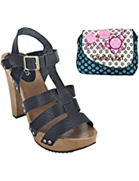 Estatos Pattern Leather Open Toe Buckle Closure Block Wooden Heel Black Gladiator Sandals With Blue Printed Clutch...