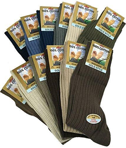 Herren 100% Pure Gerippte Baumwollsocken ermöglichen your füße atmen und absorbierung - Mode, UK 6/11 eur 39/45 (Kleid Gerippte Socken)