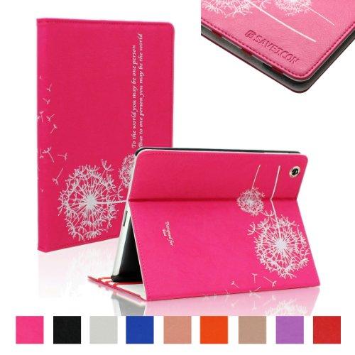 saveicon (TM) Dandelion Folio PU Leder Ständer Schutzhülle Haut für iPad Mini 20,1cm Wifi 3G 4G LTE mit Standfunktion und Sleep/Wake Funktion (Schwarz) Hot Pink iPad 2/3/4 Dandelion