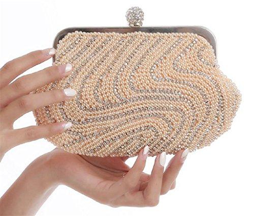 ERGEOB® Donna Clutch sacchetto di sera borsetta Clutch piccola perla diamante frizione Borsa della sposa matrimonio taschino albicocca