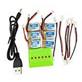 Fytoo Upgraded Ersatzakku 6PCS 3.7V 150mah Batterie Akku &1X6 Ladegeräte &6pcs Umwandlung Kabel für JJRC H36 Eachine E010 NIHUI NH010