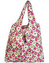 Floral Print Stylish Folding Pocket Tote Bag For Travel Shopping Picnic Beach Hiking Trips - B07C2V6YD6