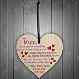 Red Ocean Mum I Love You Everyday Wooden Hanging Heart Mothers Day Gift Cute Mums Sign