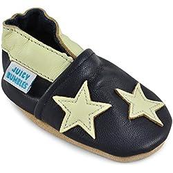 Chaussures Bébé - Chaussons Bébé Cuir Souple - Etoiles Bleues - 6-12 Mois