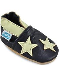 a9760dc52 Zapatos de Bebé – Zapatillas de Cuero Niño Niña – Patucos de Piel con  Elástico para Bebé - Zapatitos Primeros Pasos…