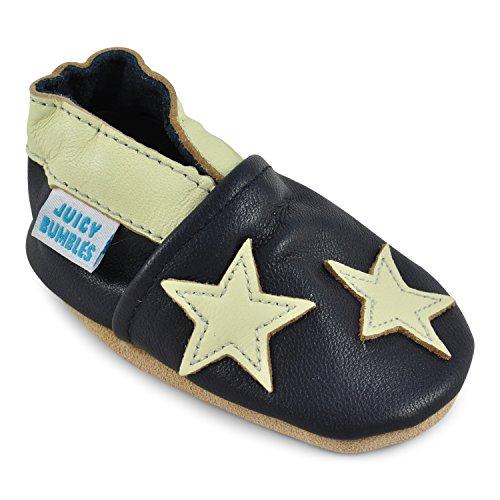 Juicy Bumbles - Weicher Leder Lauflernschuhe Krabbelschuhe Babyhausschuhe mit Wildledersohlen. Junge Mädchen Kleinkind- Gr. 12-18 Monate (Größe 22/23)- Blaue Sterne