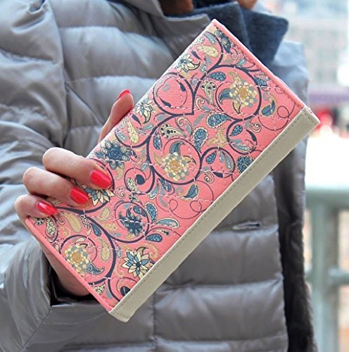 Dairyshop portafogli donna Donna fiore borsa del portafoglio Bifold lungo con la chiusura lampo (Nero) Rosa