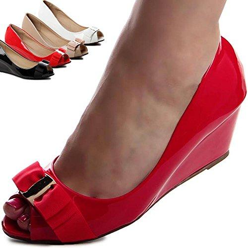 Ballerine topschuhe24 532 escarpins à talons compensés Noir - Noir