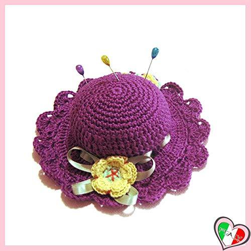 Lila Aquamarin und gelb häkeln Hut Nadelkissen aus Baumwolle - Größe: ø 11.5 cm - Handmade - ITALY