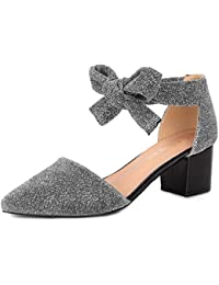 fb1f69e111d880 Allegra K Damen Block Absatz Spitzschuh Schnüren Glitter Sandalen Gericht  Schuhe Pumps