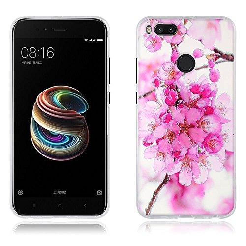 DIKAS Handyhülle für Xiaomi Mi 5X, Hülle für Xiaomi Mi A1, [Azalea Blume] 3D Mode Muster Transparente Silikon Clear TPU Fashion Kreative TPU Soft für Xiaomi Mi 5X/ Xiaomi Mi A1- Pic: 01 - 5 X Azalea