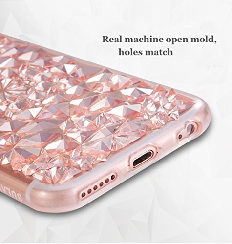 iPhone 6S Plus(5.5 pollice) Cover, Bonice iPhone 6 Plus Custodia, Lusso 3D Diamante Crystal TPU Ultra Clear Slim Bling Strass Case – Bianca Oro
