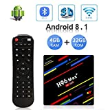OKEU Android 8.1 TV Box H96 Max Plus 4GB RAM 32GB ROM mit RK3328 Quad-Core-64-Bit-Cortex-A53 Processor und 2.4G/5G Dual WiFi/ 100M LAN/ 4K/3D /H.265 /USB3.0 Android Box