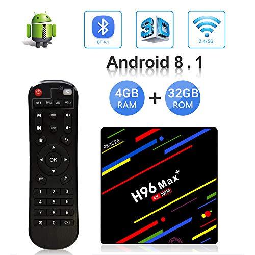 OKEU Android 8.1 TV Box H96 Max Plus 4GB RAM 32GB ROM mit RK3328 Quad-Core-64-Bit-Cortex-A53 Processor und 2.4G/5G Dual WiFi/ 100M LAN/ 4K/3D /H.265 /USB3.0 Android Box 64-bit-ram