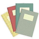 etmamu 540 4er-Set Notizhefte Farbige Muster, 32 Blatt Punktraster