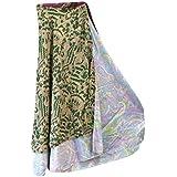 Mogul Interior Boho Beach Wrap Dress Green Printed Two Layer Reversible Silk Sari Long Skirt