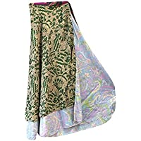 Mogul Interior Boho Beach Wrap Dress Green Printed Two Layer Reversible Silk Sari Long Skirt