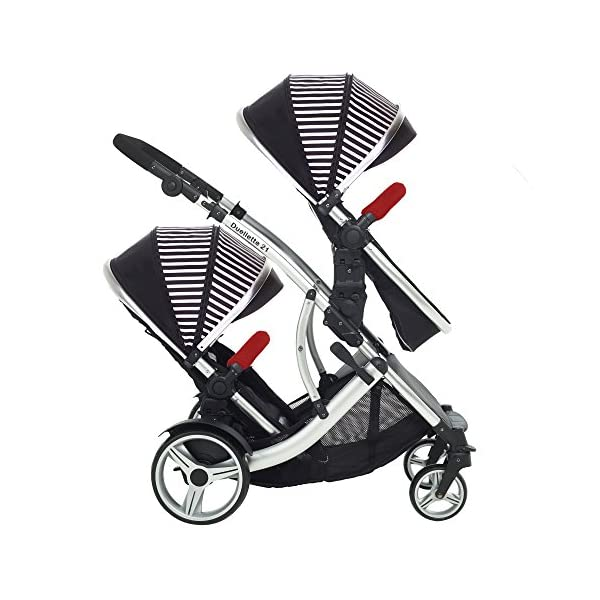 Kids Kargo Duellette Combi Tandem Double Twin pushchair (Oxford Stripe) for Newborn Twins Kids Kargo Fully safety tested Compatible with car seats; Kids Kargo, Britax Baby safe or Maxi Cosi adaptors. Versatile. Suitable for Newborn Twins:  carrycots have mattress and soft lining, which zip off. Remove lining and lid. 8