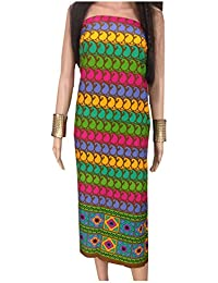 Kurti Material Blouse Fabric Pure Cotton colour fast, brown base, kairi print, multicolour border