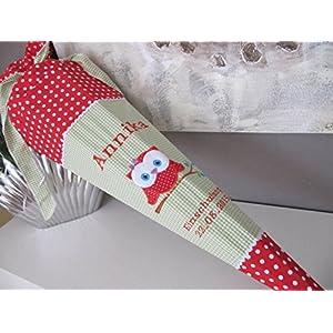 Eule Uhu rot-grün Schultüte Stoff + Papprohling + als Kissen verwendbar